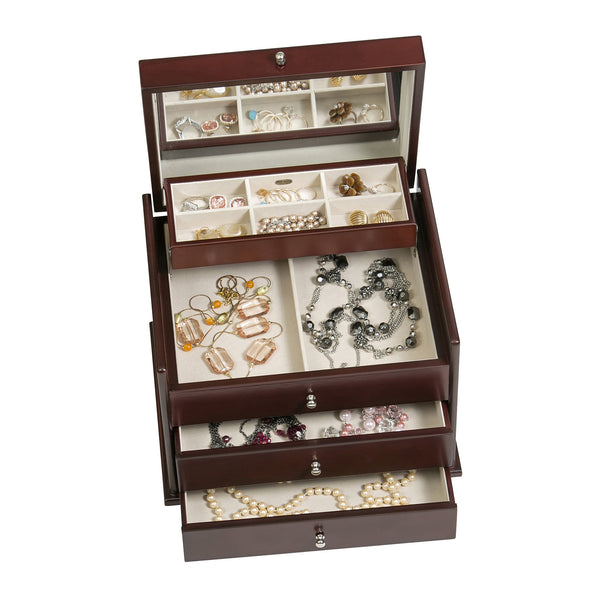 Mahogany Jewelry Box will organize and display the beauty in jewelry pieces.