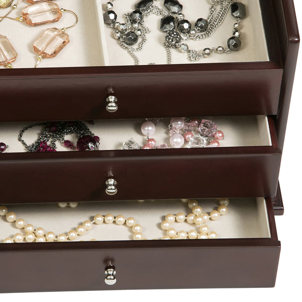 Mahogany Jewelry Box will hold bracelets, earrings, necklaces, rings, and much more.
