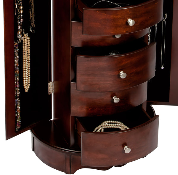 Standing Jewelry Chest will withstand routine usage to protect the value in jewelry.