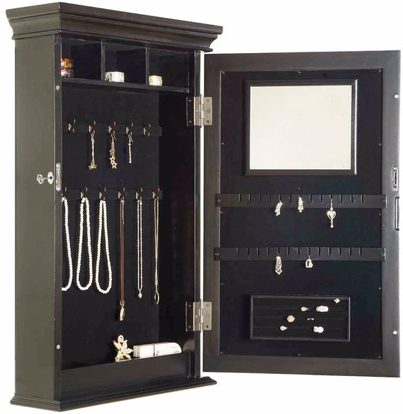 Wall Mounted Jewelry Cabinet will organize and display a jewelry collecdtion.