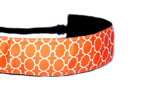 Wide Orange Quatrefoil Headband