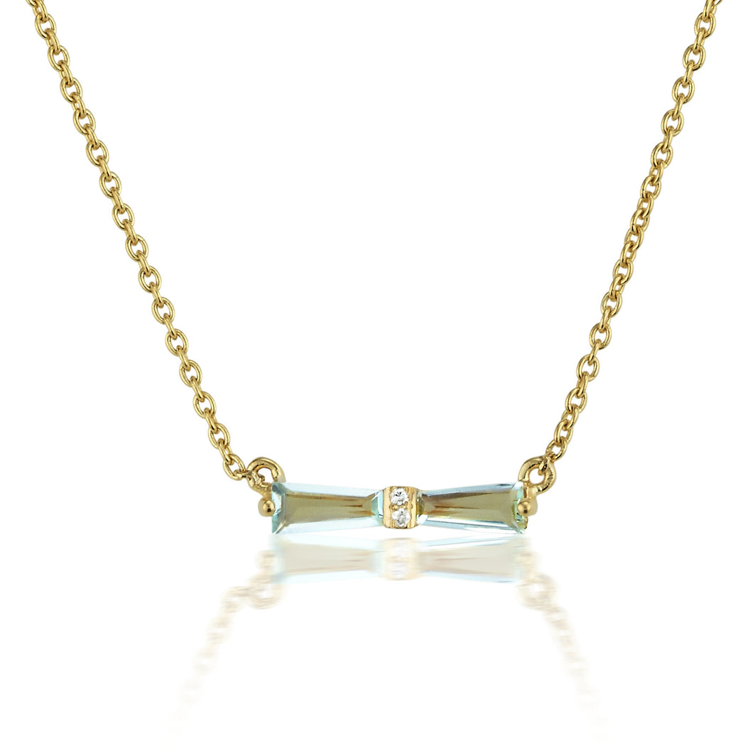 Aquamarine & Diamond Tapered Baguette Bow Necklace