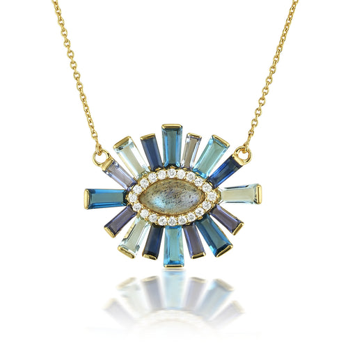 Labradorite & Diamond Halo Luminous Necklace