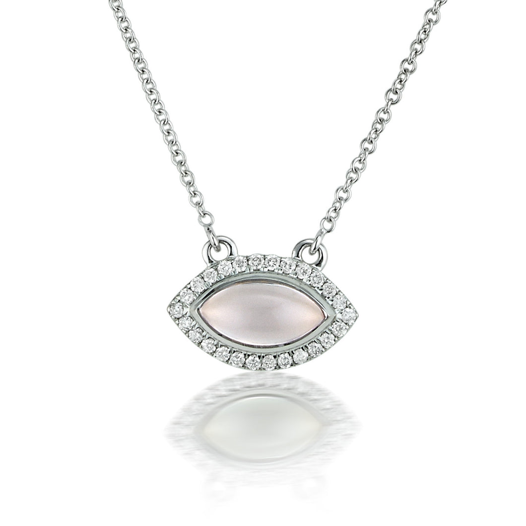 Rose Quartz & Diamond Halo Marquise Necklace