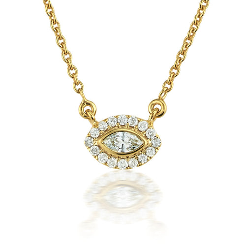 Diamond Halo Marquise Necklace