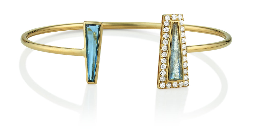 London Blue Topaz Labradorite & Diamond Halo Tapered Baguette Cuff