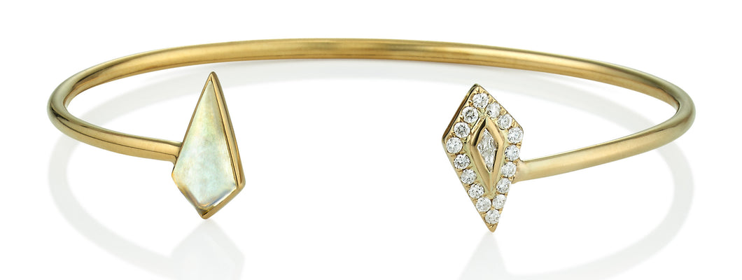 Moonstone & Diamond Halo Kite Cuff Bracelet
