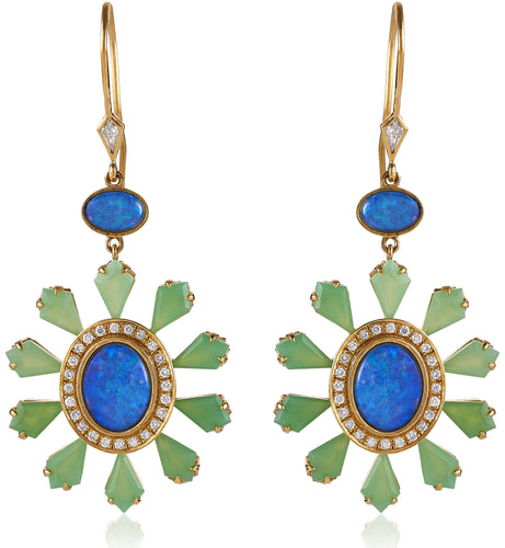 Opal Chrysoprase Kite & Diamond Drop Earrings
