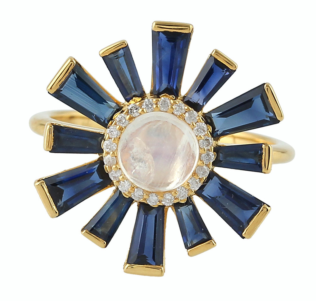 Moonstone and Sapphire Sunburst Ring