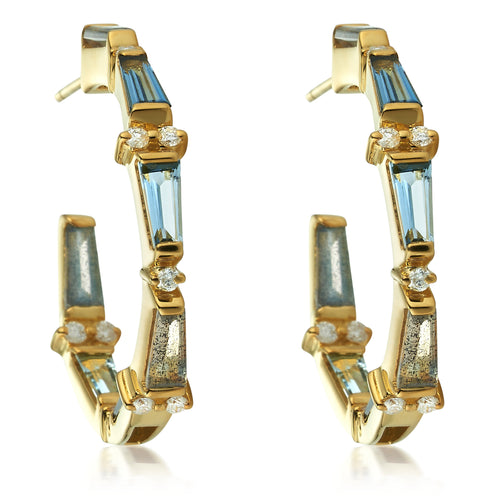 London Blue Topaz Aquamarine Labradorite & Diamond Tapered Baguette Bow Hoops
