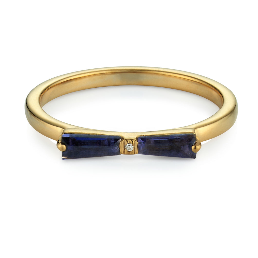 Iolite & Diamond Tapered Baguette Bow Ring