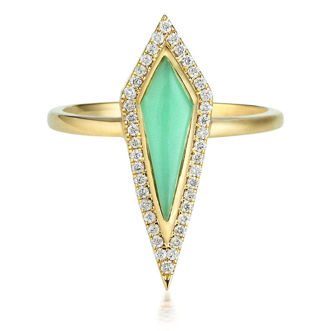 Chrysoprase Kite & Diamond Halo Ring