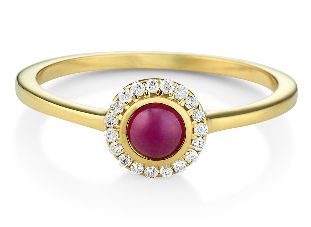 Ruby & Diamond Halo Orb Ring