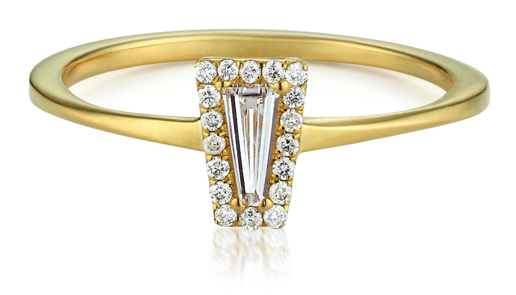 Diamond Halo Tapered Baguette Ring