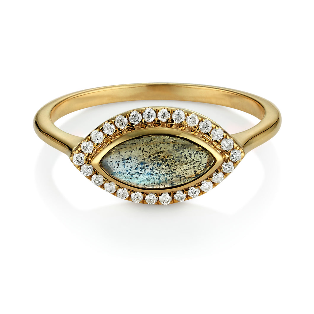 Labradorite & Diamond Halo Marquise Ring