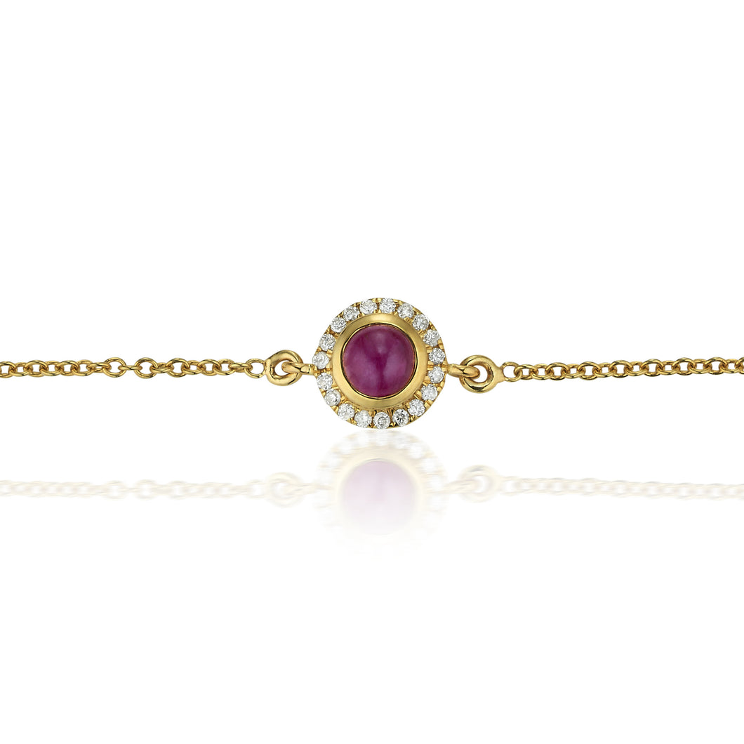 Ruby & Diamond Halo Orb Bracelet