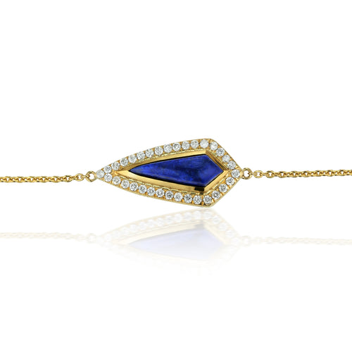 Lapis Kite & Diamond Halo Bracelet