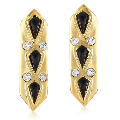 Black Garnet Kite & Diamond Hexagonal Bar Stud Earrings