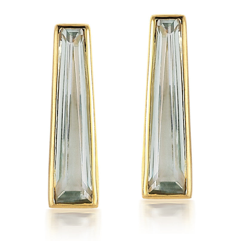 Aquamarine Elongated Tapered Baguette Stud Earrings