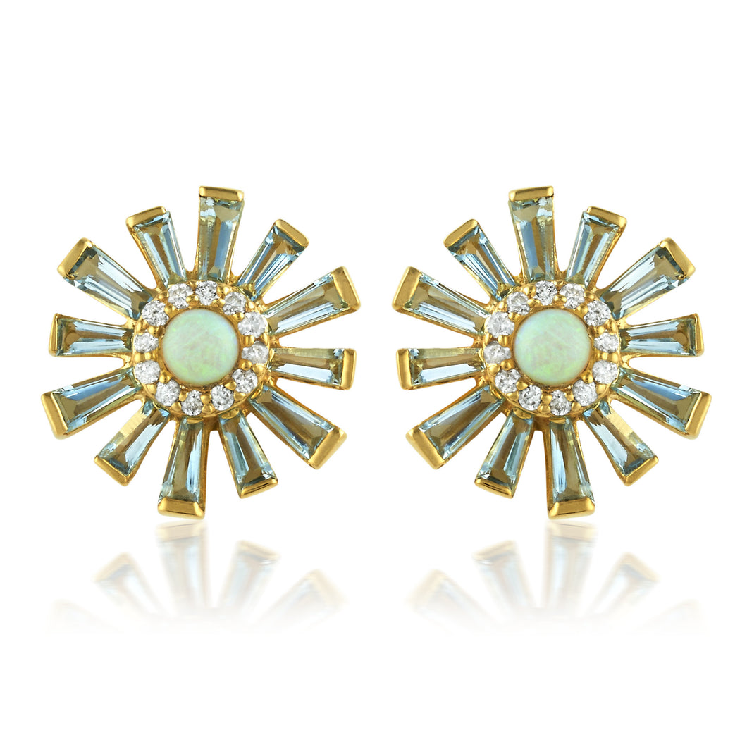 Opal and Aquamarine Sunburst Studs