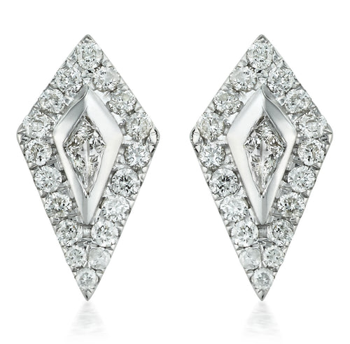 Diamond Kite Halo Stud Earrings