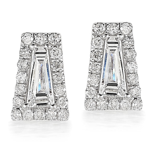 Diamond Halo Tapered Baguette Stud Earrings