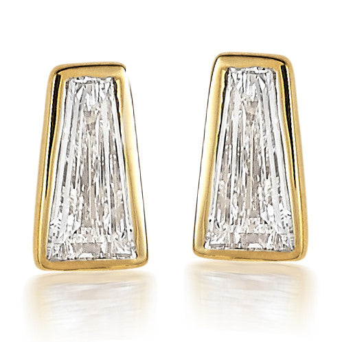 Diamond Tapered Baguette Stud Earrings