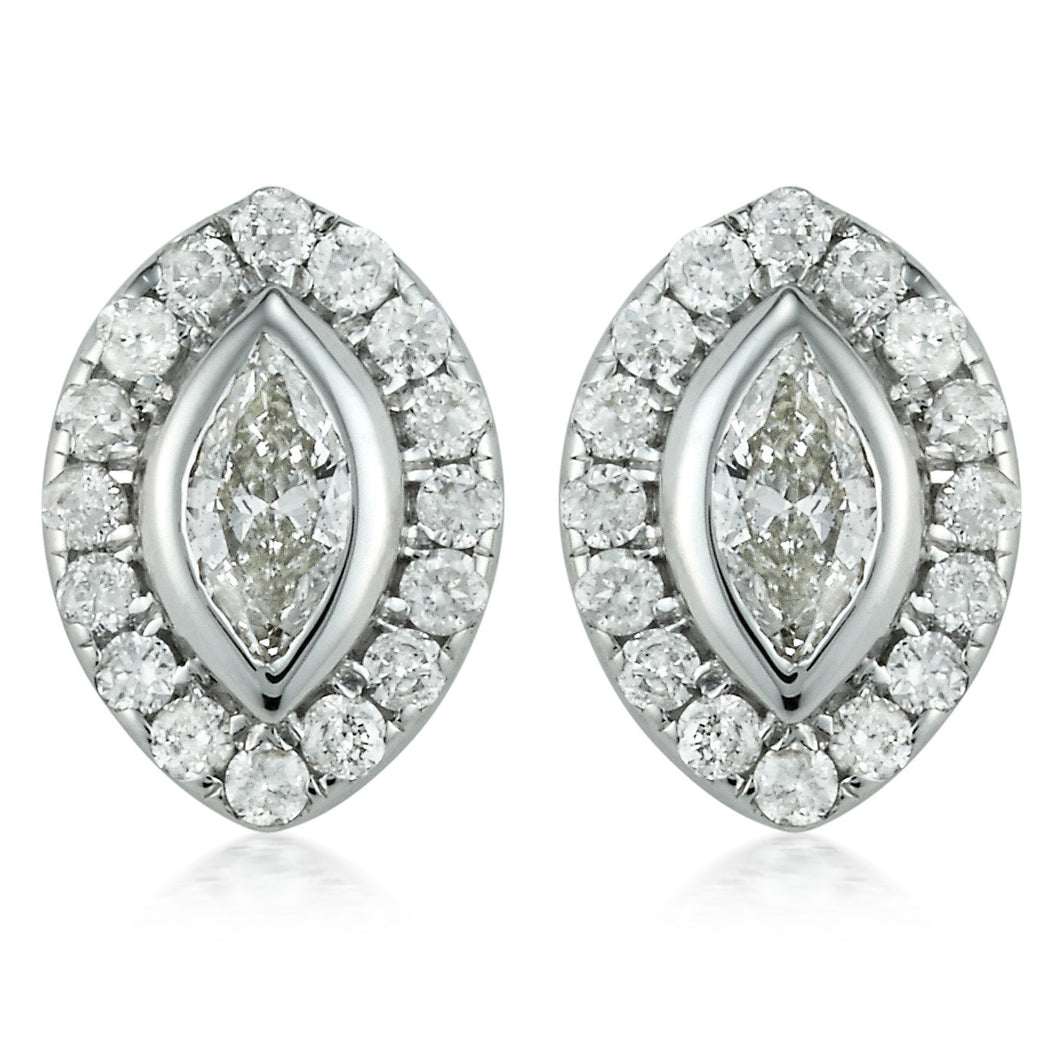 Diamond Halo Marquise Stud Earrings