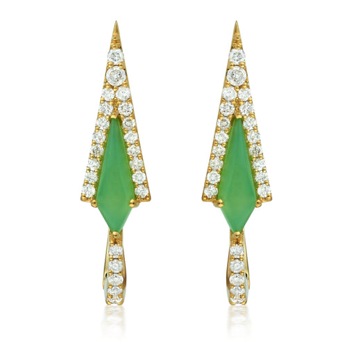 Chrysoprase Kite & Diamond Hoop Earrings