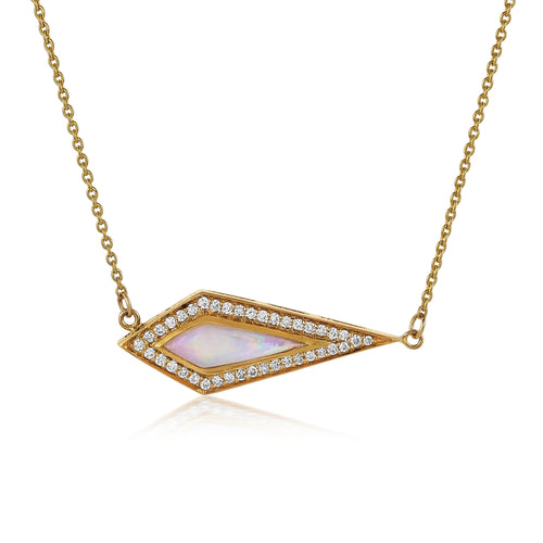Opal Kite & Diamond Halo Necklace