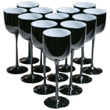 Carlo Moretti Cased Glass Black Wine Glasses