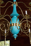 Department Store Chandelier, Robin's Egg Blue and Brass