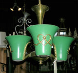 French Atelier Petitot 1940s Three-Light Chandelier