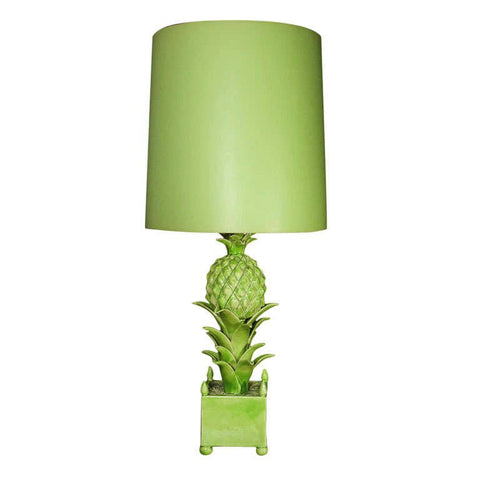 French Green Ceramic Pineapple Lamp by Jean Roger