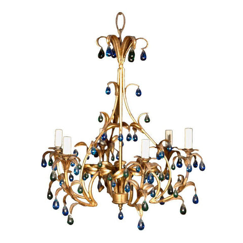 Gilt Metal Chandelier with Blue and Green Crystal Drops