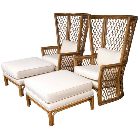 Pair Of Highback Rattan Chairs With Ottomans