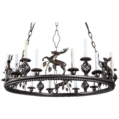 Custom-Made Leaping Stag Chandelier