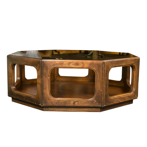 Octagonal Mid-Century Glass Top Coffee Table