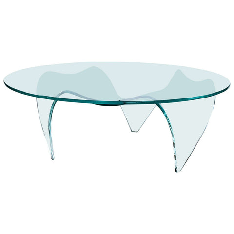 Pace Round Glass-Top and Glass Base Coffee Table