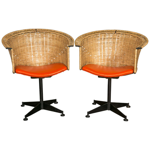 Pair of 1960s Woven Swivel Chairs