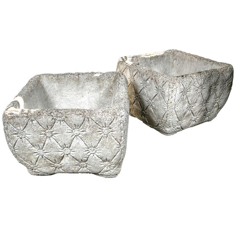 "Pair of Cast Stone ""Tufted"" Planters"