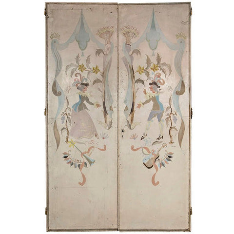 Pair of French 1940s Signed and Hand-Painted Doors After Berard