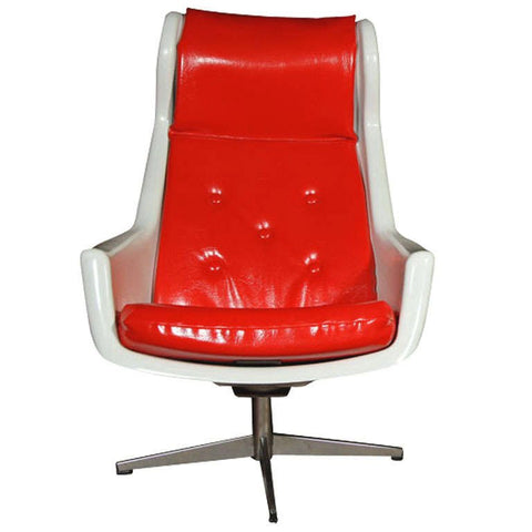 Red and White Midcentury Swivel Chair