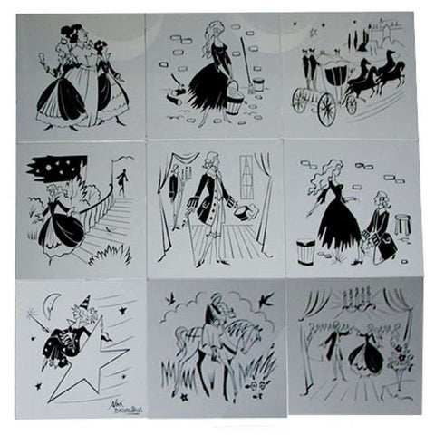 French Etched Glass Cinderella Panels, 1960s