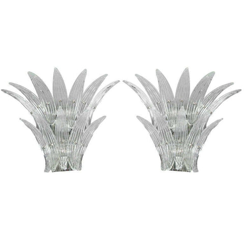 Pair of Barovier Murano Venetian Glass Sconces