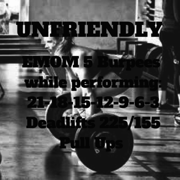 Workout of the day: Unfriendly