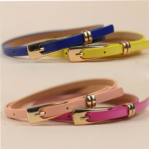 1Pc Fashion Women Skinny Waist Belt Lady Girl Thin Leather Narrow Waistband Summer Dress accessories 10 Colors