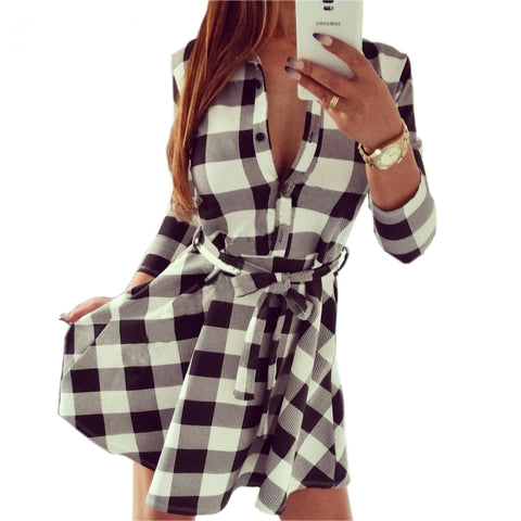 2017 Women's Plaid Spring Summer Dresses High Auality Casual Dress Long Sleeve Turn Down Collar Dress With Belt Plus size