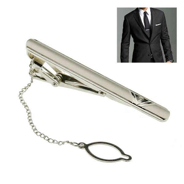 New Simple Necktie Tie Clasp Clip Gentleman Metal Silver Tone Girl Fashion BS88