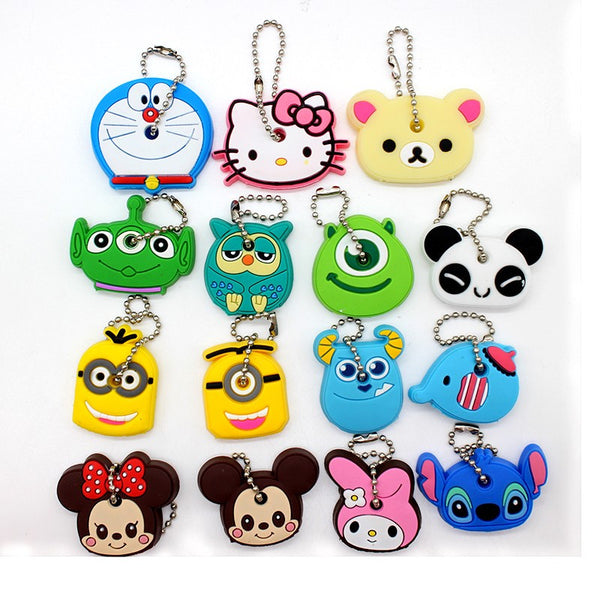 Cartoon Anime Minion Cute Owl Key Cover TO.US Bear Mickey Keychain Silicone Hello Kitty Holder porte clef Ring cat cap chain